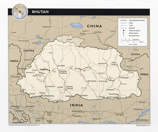 Detailed political map of Bhutan. Bhutan detailed political map.