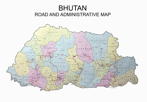 Detailed road and administrative map of Bhutan.