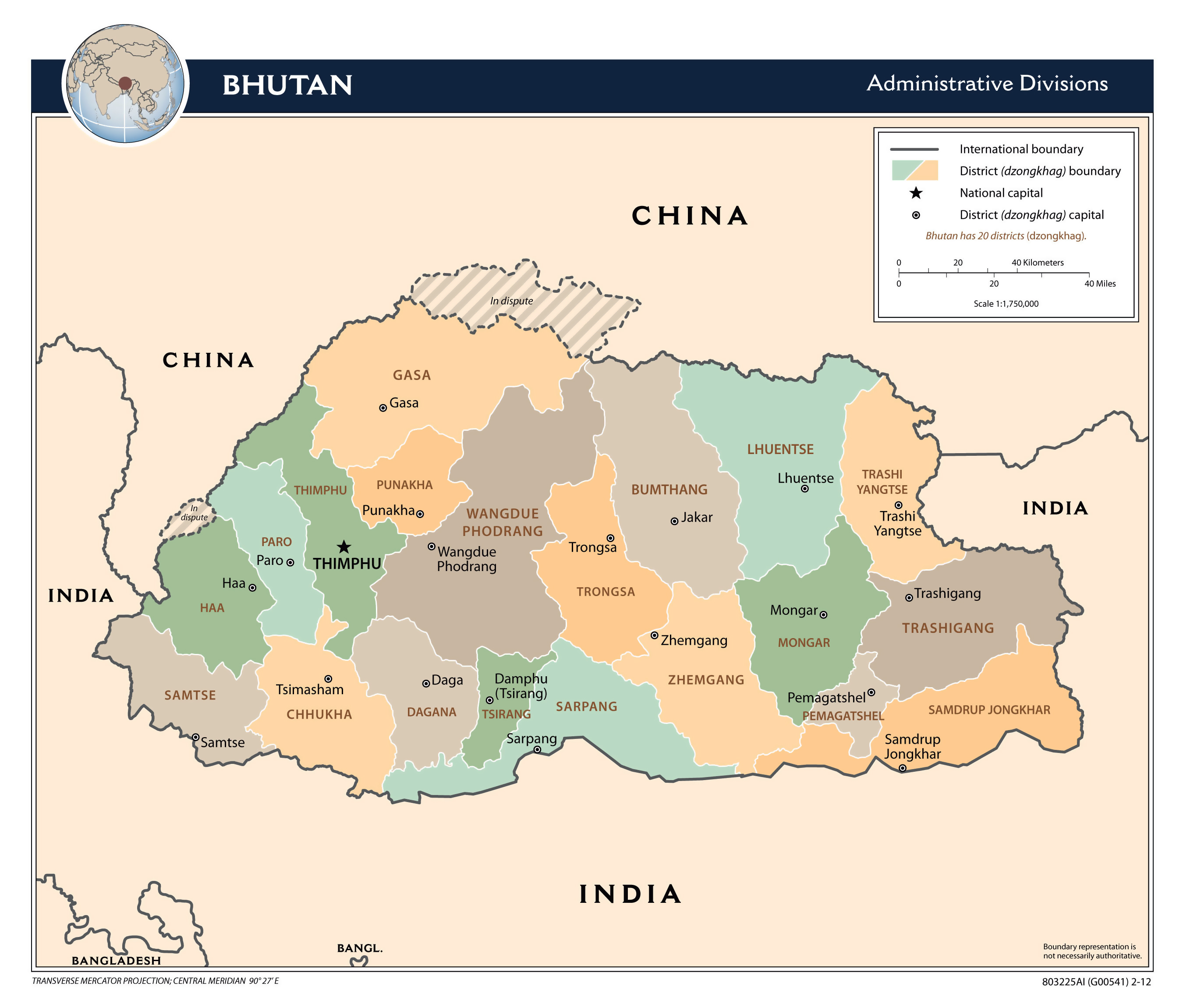 Large detailed administrative divisions map of Bhutan with major ...