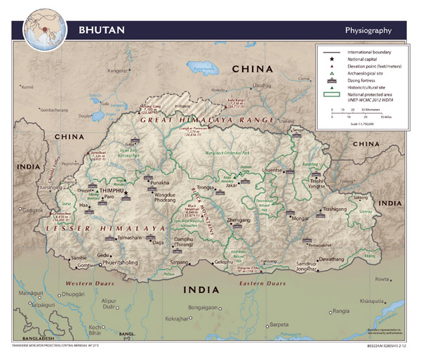 Large detailed physiography map of Bhutan.