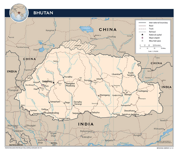 Large detailed political map of Bhutan with roads, major cities and airports.