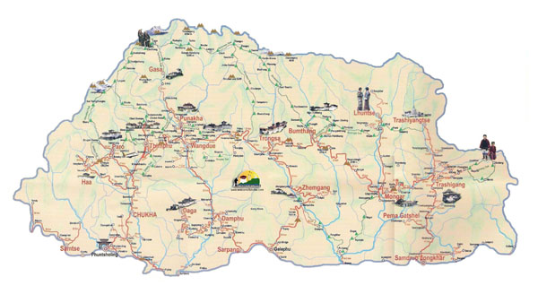 Large detailed tourist map of Bhutan. Bhutan large detailed tourist map.