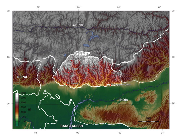 Large topographical map of Bhutan. Bhutan large topographical map.