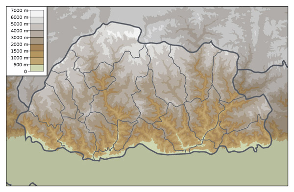 Physical map of Bhutan. Bhutan physical map.