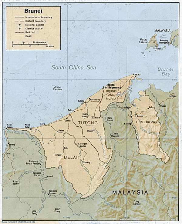 Detailed relief and political map of Brunei.