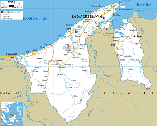 Detailed road map of Brunei. Brunei detailed road map.