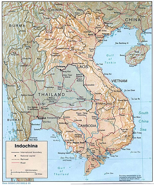 Detailed relief and political map of Indochina. Cambodia detailed relief and political map.