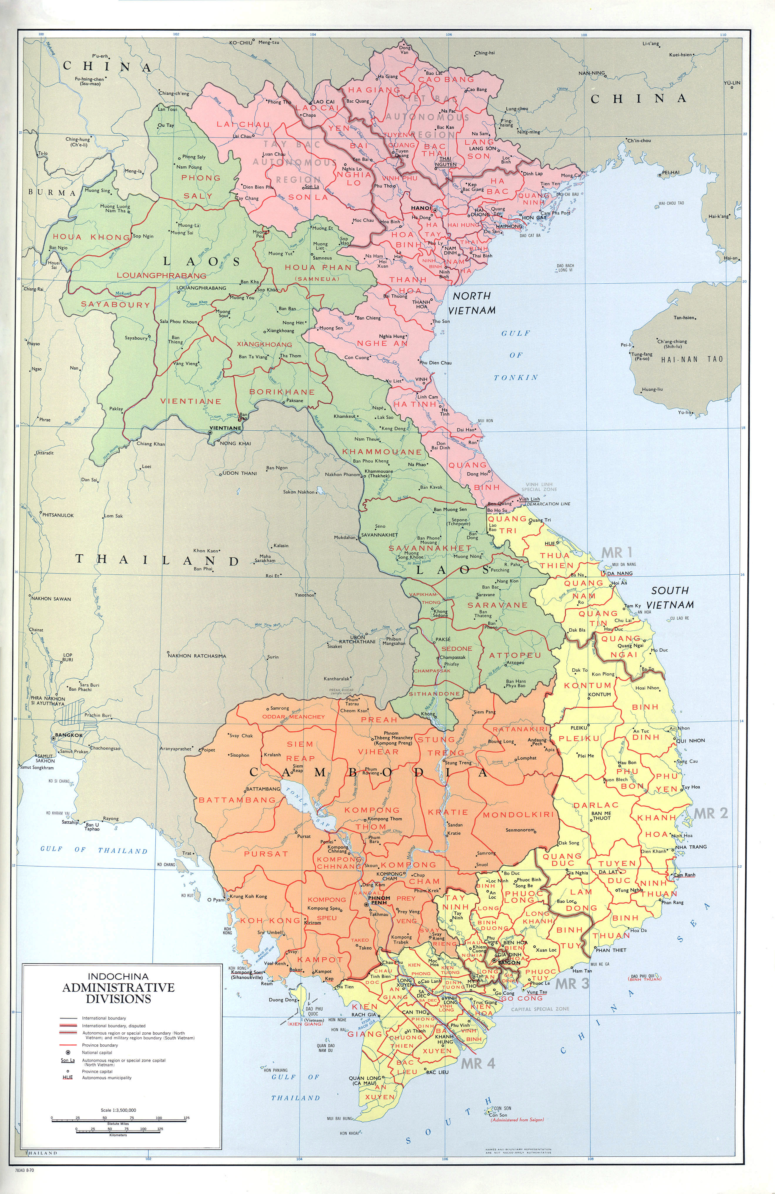 Large detailed political map of Indochina Indochina large detailed political