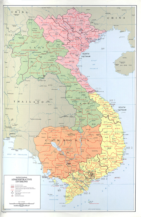 Large detailed political map of Indochina.