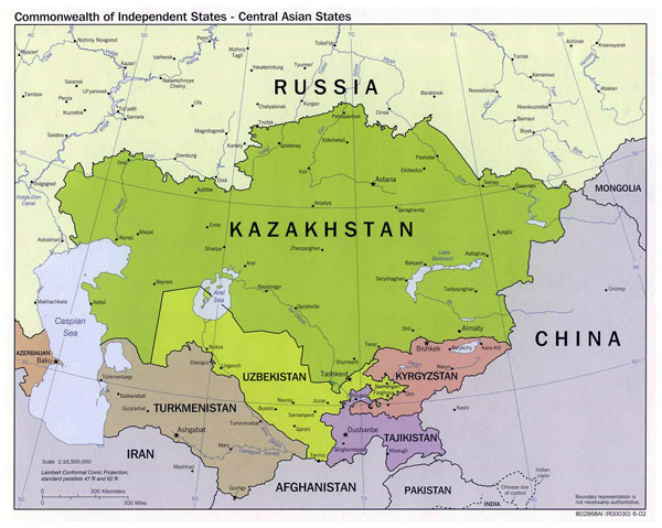 Large political map of Central Asian States - 2002.