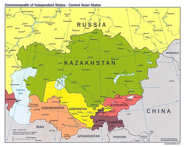 Large political map of Central Asian States with major cities - 1995.