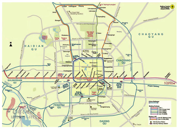 Detailed subway network map of Beijing city.