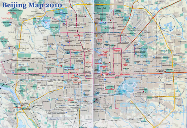 Large road map of Beijing city. Beijing large road map.