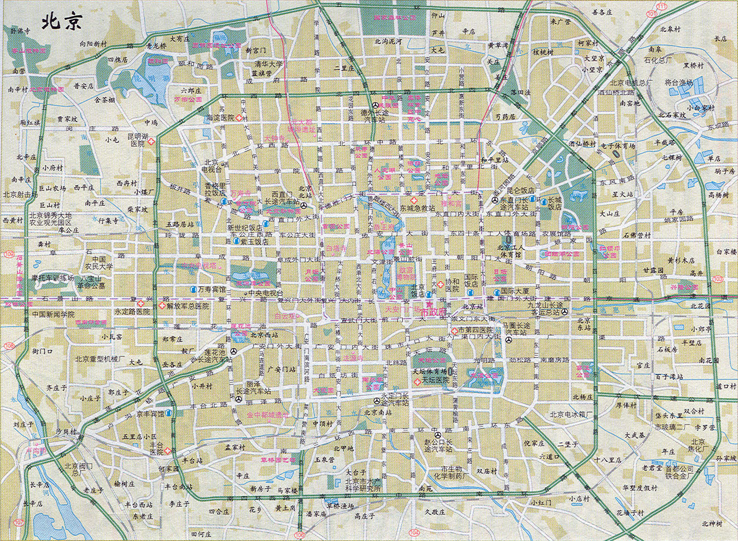 Chinese Map Of America.Large Road Map Of Beijing In Chinese Beijing Large Road Map In
