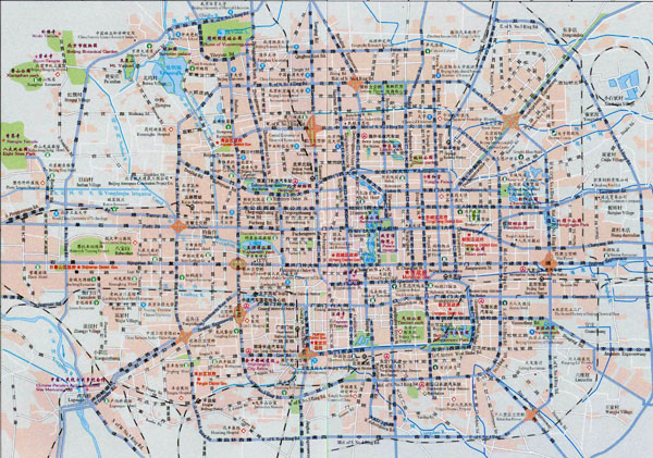Large road map of Beijing in english and chinese.