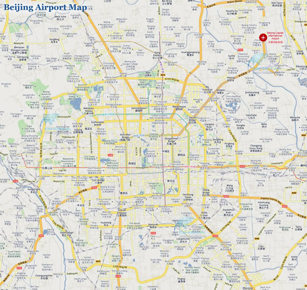 Large road map of Beijing with airport.
