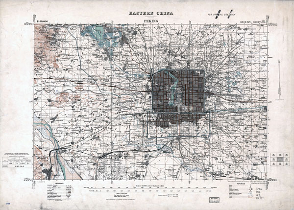 Large scale old topographical map of Beijing (Pekin) city region - 1926.