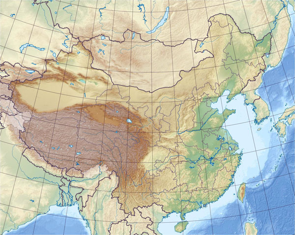 Detailed China relief map. China detailed relief map.