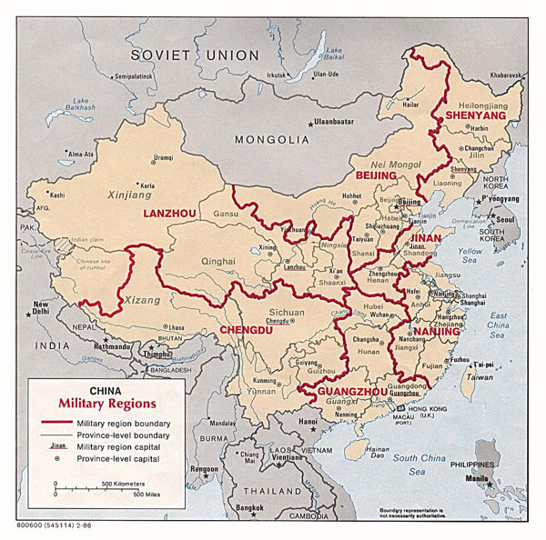 Detailed military regions map of China - 1986.