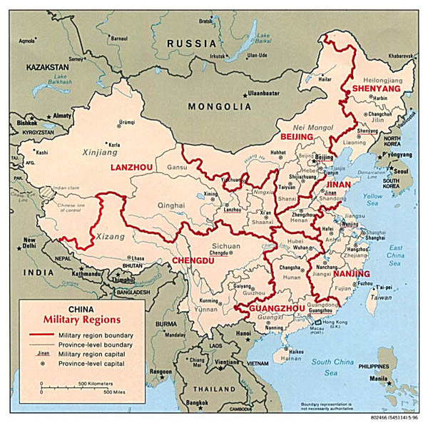 Detailed military regions map of China - 1996.