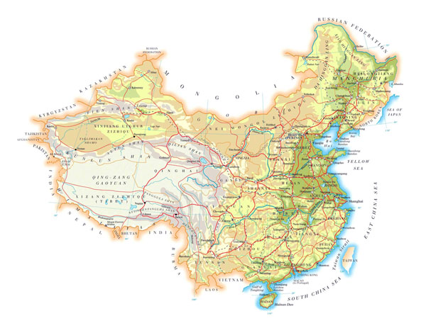 Detailed physical map of China with roads, cities and airports.