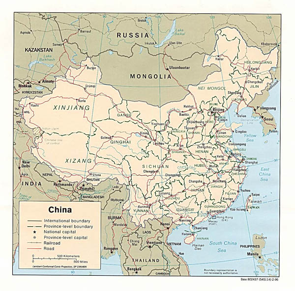 Detailed political and administrative map of China - 1996.