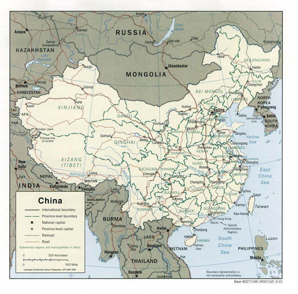 Detailed political and administrative map of China - 2001.