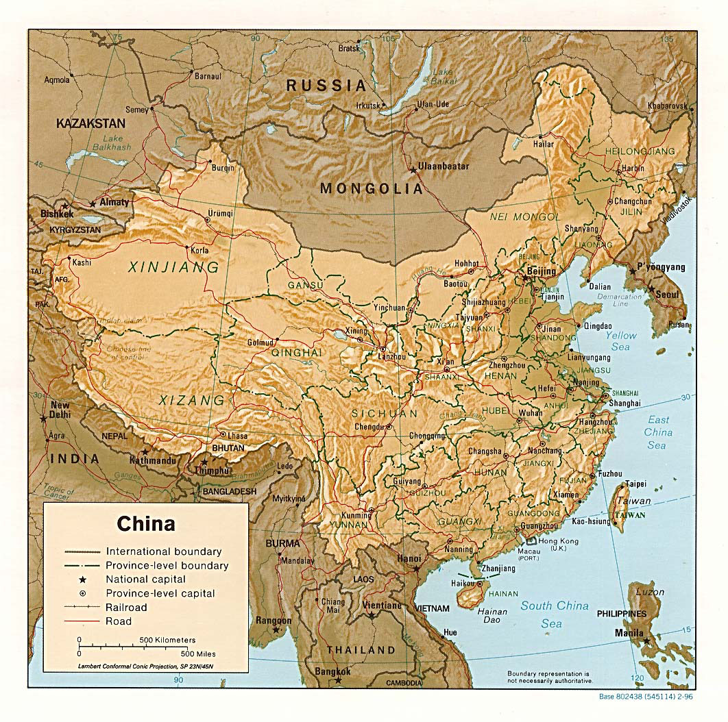 Detailed political and administrative map of China with ...