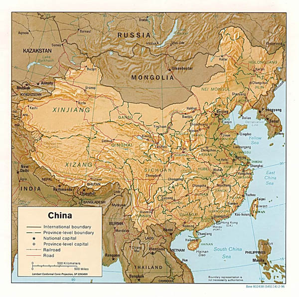 Detailed political and administrative map of China with relief 1996.