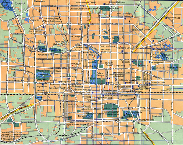 Detailed road map Beijing city. Beijing city detailed road map.