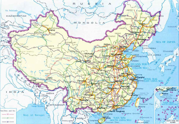 Detailed road map of China. China detailed road map.
