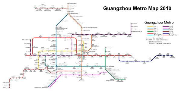 Large metro network map of Guangzhou.