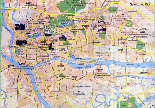 Large tourist map of Guangzhou in english.