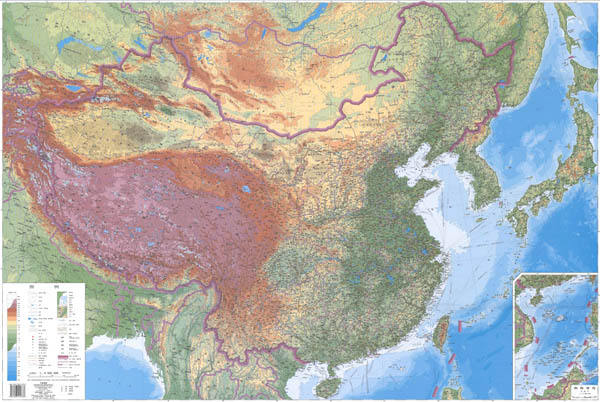 High resolution detailed physical map of China in Chinese.