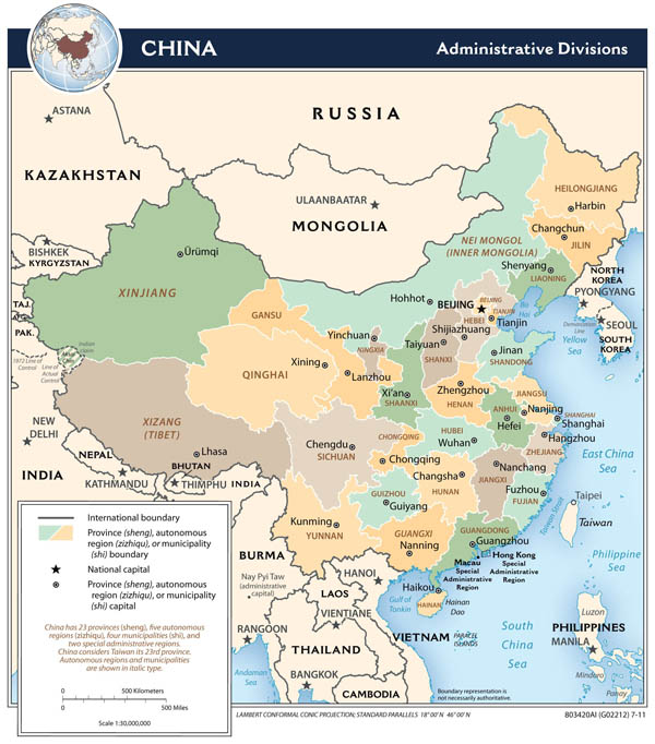 Large detailed administrative divisions map of China.