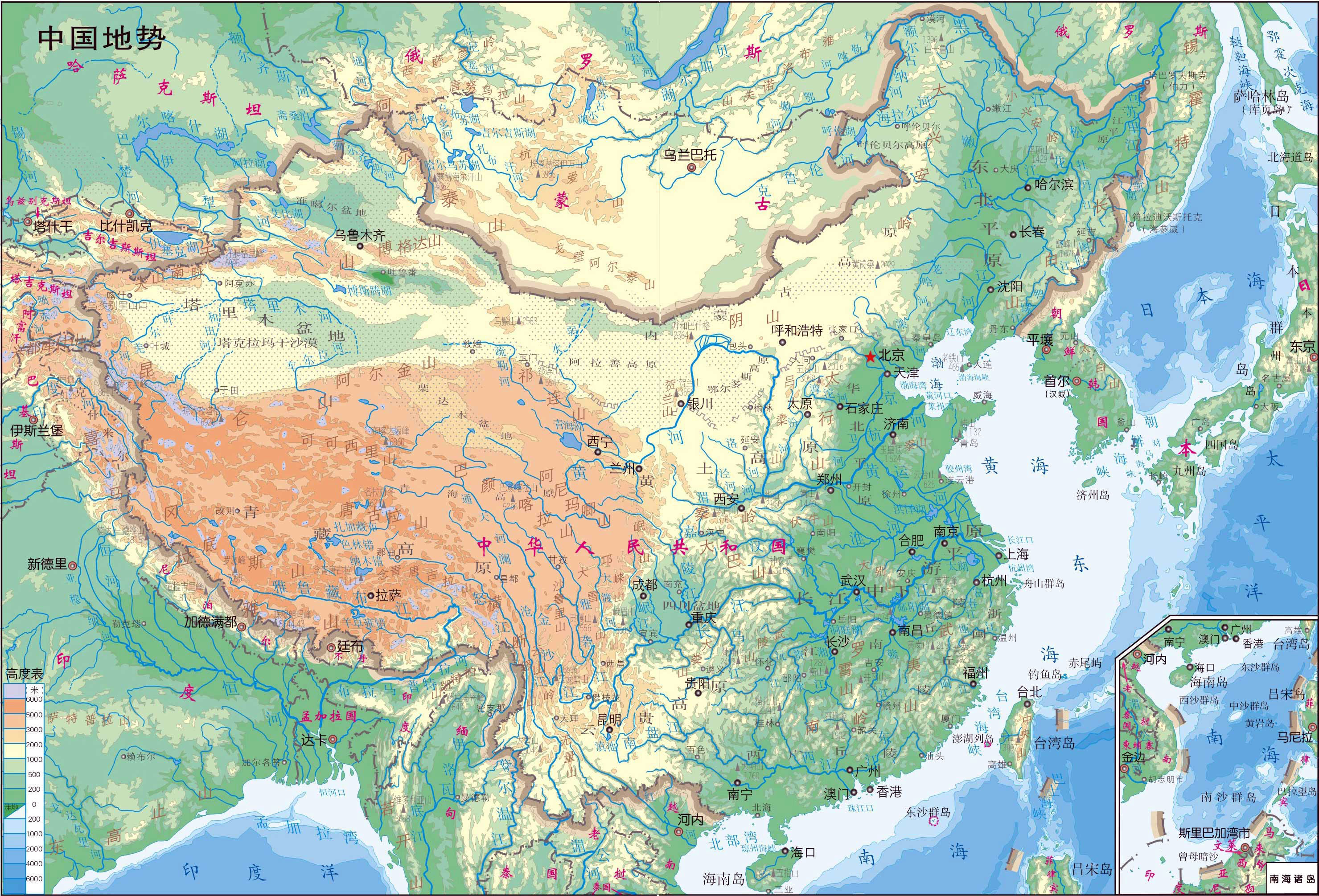 Large Detailed Physical Map Of Map Of China In Chinese. China Large Detailed  Physical Map In Chinese.