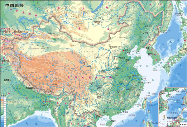 Large detailed physical map of map of China in Chinese.
