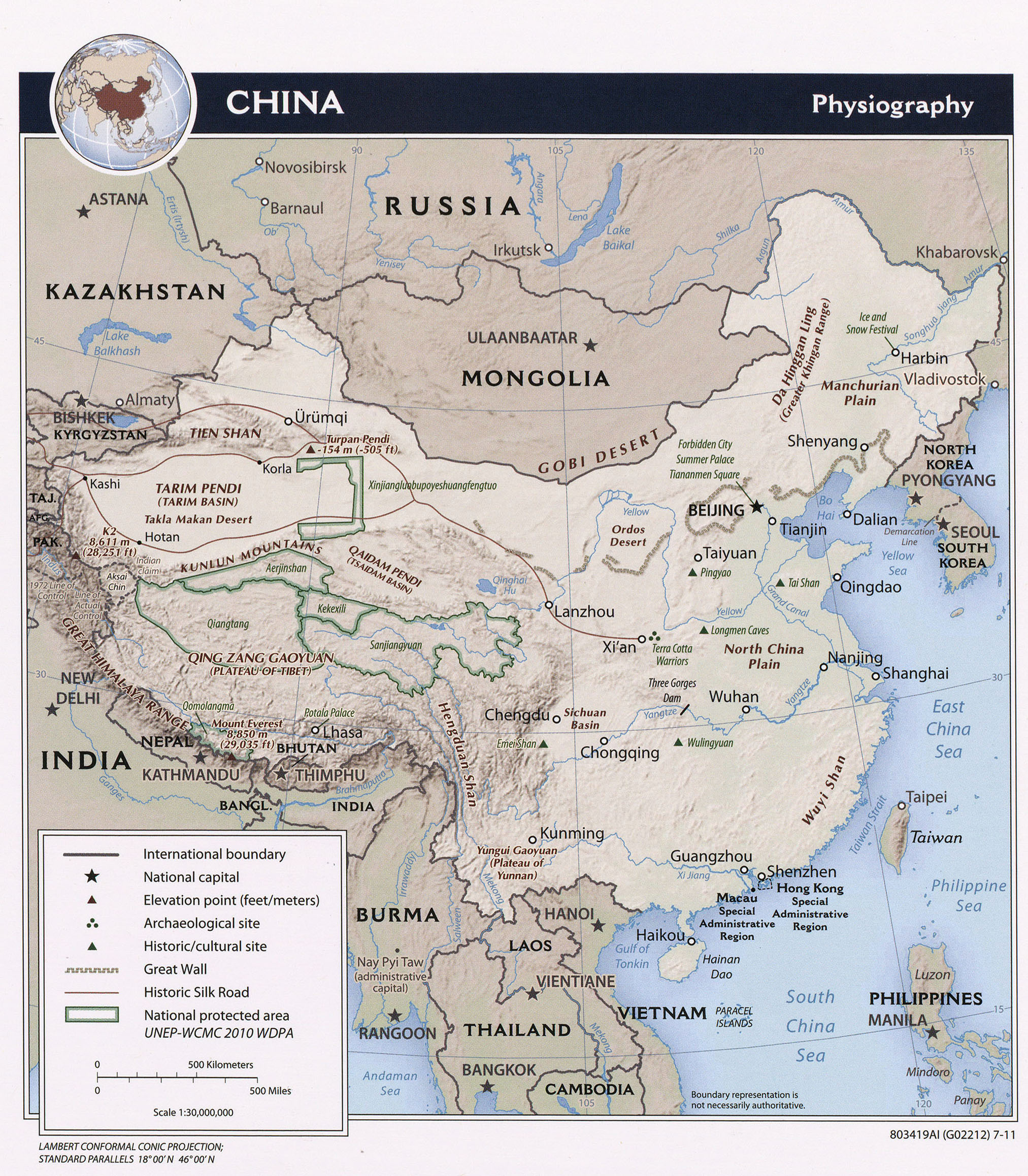 Large detailed physiography map of China. China large detailed ...