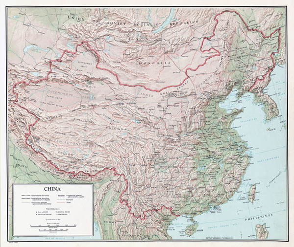 Large detailed relief, administrative and political map of China with all cities and roads.