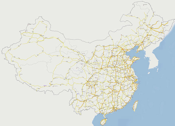 Large detailed road map of China. China large detailed road map.