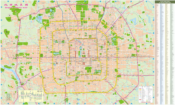 Large detailed street map of Beijing city.
