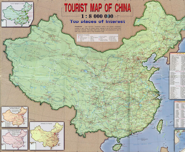 Large detailed tourist and road map of China.