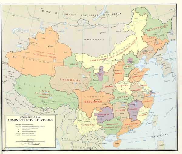 Large scale detailed administrative divisions map of China - 1967.