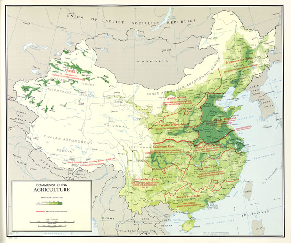 Large scale detailed agriculture map of China - 1967.