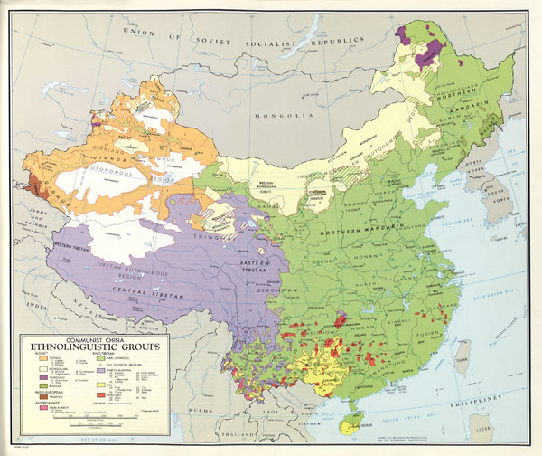 Large scale detailed ethnolinguistic groups map of China - 1967.