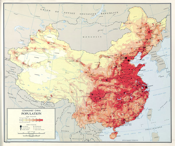 Large scale detailed population map of China - 1967.