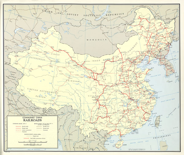 Large scale detailed railroads map of China - 1967.