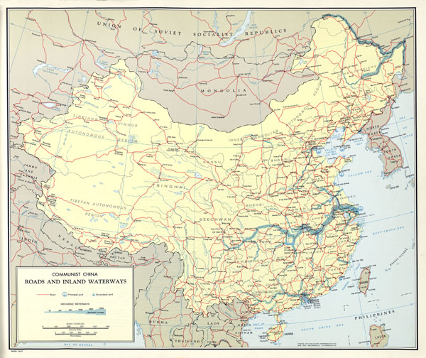 Large scale detailed roads and inland waterways map of China - 1967.