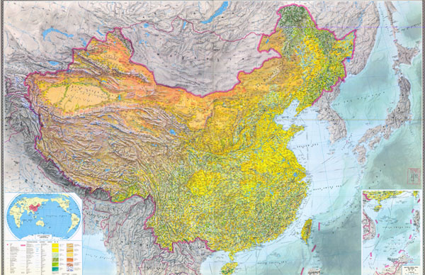 Large scale detailed topographic map of China (1984) with all cities, roads and other marks.