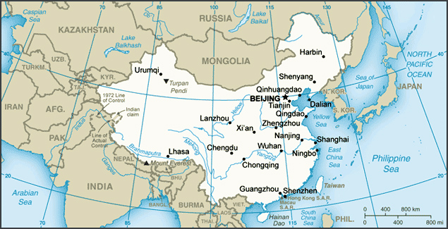 Small map of China. China small map.